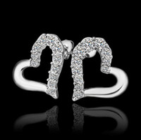 Wholesale Plated K platinum inlay Czech diamond heart stud earrings fashion girl jewelry