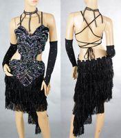 Wholesale Ladies Night Club Cocktail Party Latin amp Ballroom Dance Sequin Fringe Grass Dress