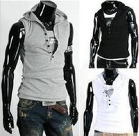 Wholesale Free Shiping NEW Men s Sleeveless Hoody Vest Fashion Cotton Top Six buttons T shirt