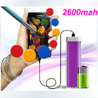 Wholesale 2600mAh Portable Power Bank Charger External Battery Charger For i9300 Note2 N7100 iphone S