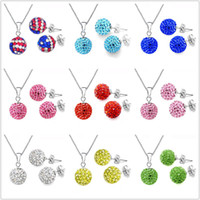Wholesale Bling Shamballa Jewelry Dazzling mm Disco Crystal Beads Charm Necklace Studs Sets sets NEW HOT