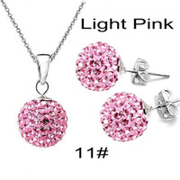 Wholesale 10mm Shining Disco Crystal Ball Clay Beads Fit quot O chains Shamballa Necklace Earrings Sets set