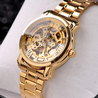 Wholesale 1pcs Gold luxury men s watch Automatic mechanical movement alloy band wrist watch