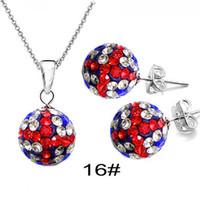 Wholesale Fashion Shamballa Necklace amp Earrings Sets Dazzling Union Jack Rhinestone crystal Beads sets NEW