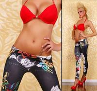 Wholesale Sexy imitation jeans leggings denim capris colorful pants women jeggings