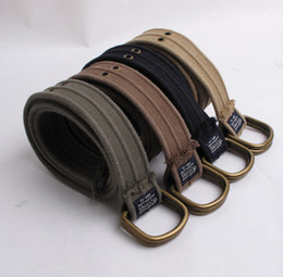 Wholesale Men Belts Brand Mens Belt D ring Cotton Canvas High Quality Double Exhaust Eye Washed Soft Colors
