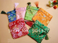Cheap 50piece pack Free shipping Tassel Zipper Chinese Silk Printed Jewelry Gift Bags Wholesale mix color