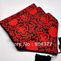 Wholesale Good quality Black Pattern Christmas Luxury Table Runners Silk Brocade Chinese style Decoration Table Cloth multi color Option