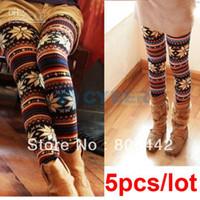 Wholesale 5Pcs Fashion Thin Colorful Crystal Pattern snowflakes Women s Knit Leggings Tights Pants Free