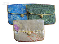 Cheap Unique Buckle Zipper Jewelry Gift Bag Small Chinese Silk Brocade Printed Packaging Pouches 10piece pack mix color Free shipping