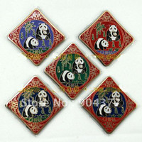 Wholesale 10 piece pack Chinese Culture Cloisonne Metal Panda Square Fridge Magnets Souvenirs mix color