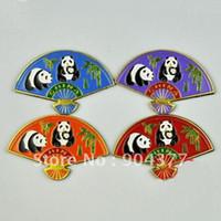 Wholesale Lovely Decorative Panda Fridge Magnets Vintage Chinese Style Cloisonne Metal Crafts piece pack mix color