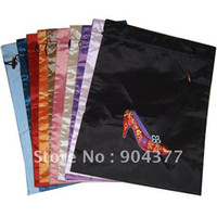drawstring shoe bag - High Quality Travel Silk Shoe Covers Storage Bags Drawstring Embroidered Gift Packaging Pouches mix color
