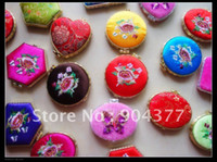 Wholesale Pretty Satin Embroidered Pocket Compact Mirrors Party Favor Gift Portable Double sided Makeup Mirrors pack mix color