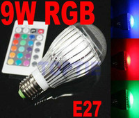 Wholesale NEW E27 W RGB LED Colorful Lamp Light Bulb Key IR Remote Control T96