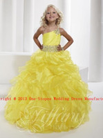 Wholesale 2013 Hot One Shoulder Yellow Organza Sash Beaded Flowers Formal Dresses Girl s Pageant Gowns