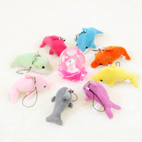 cell phone straps - New Dolphin Cell Phone Straps Keychain Stuffed Animals Plush Kid Toys Wedding jewelry Birthday gift