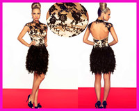 feather cocktail dress - Hot Sell High Neck Lace Backless Feathers Short Prom Dresses Cocktail Dress E2555