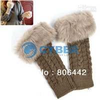 Wholesale Promotions Women s Fashion Fingerless Gloves Arm Warmer Long Gloves Knitted Fur Gloves Mitten Colo