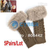 Wholesale 5Pairs Women s Fashion Fingerless Gloves Arm Warmer Long Gloves Knitted Fur Gloves Mitten Color
