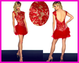 Wholesale Sexy Red Cap Sleeve Backless Lace Mini Party Dresses Cocktail Dress Tulle E2556