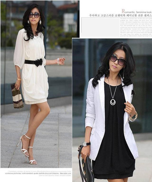 2013 New Women's Lady Graceful Mini Dress Chiffon Casual Crew Neck ...
