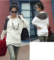 Wholesale 2014 New Women Ladies Leopard Print Tees Long Loose T Shirts Batwing Sleeve Blouse Top White Black Gray G0136