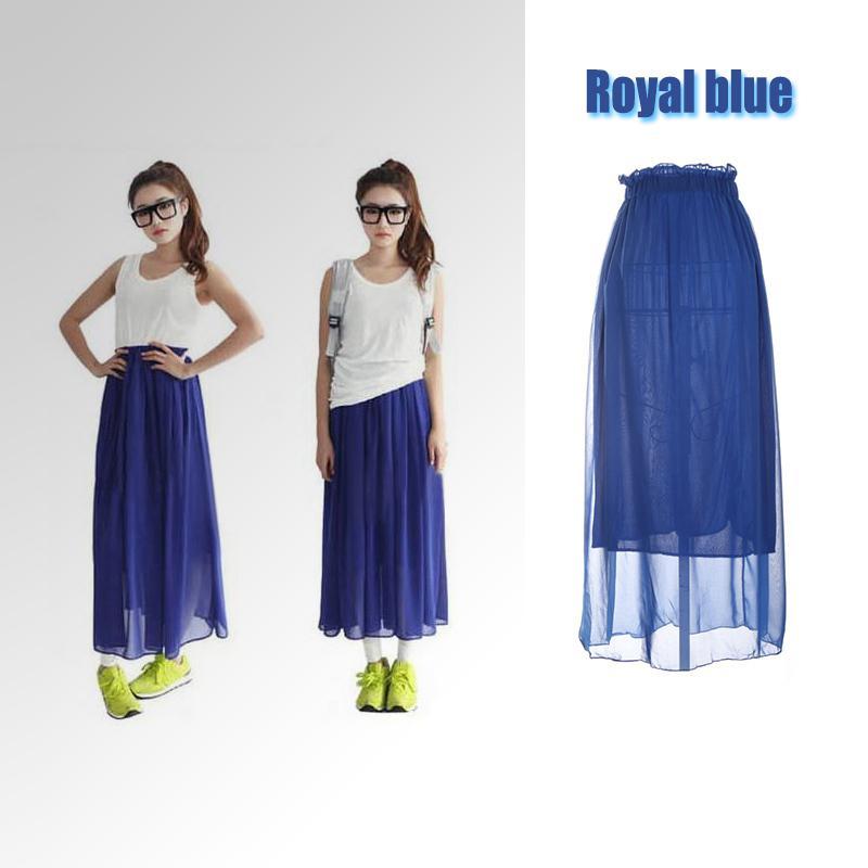 New Fashion Women Ladies Maxi Skirt Chiffon Pleated Long ...