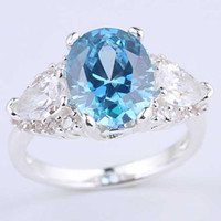 Wholesale Women Oval Pear Shape stone Blue Topaz S925 Sterling Silver Ring NAL R081 Size