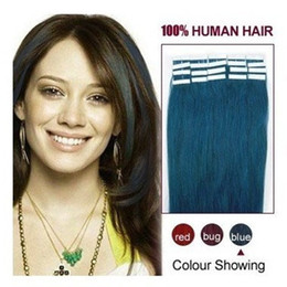 Wholesale colorful Blue pu hair tape skin hair extension Human Hair Extensions20 per pack
