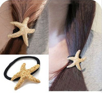 Wholesale New Arrival Fashion Lovely Gold Plated Metal Starfish Hairband Rope Band women jewelry FS2