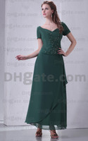 Model Pictures Beads Short Sleeve Lime Bridesmaid Dress Scalloped Short Sleeves Beaded Bodice Ruffle Peach Backless Chiffon Dress Full