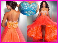 Wholesale Orange Sweetheart Tulle Short Front Long Back Crystals Graduation Prom Dresses E2986