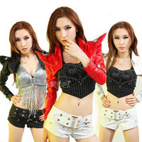 Wholesale Fashion New Designer Lady Gaga DS Club Performance Wear women Costumes Leather Jackets S M L