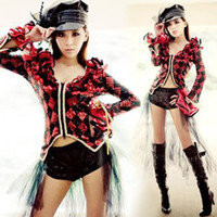 Wholesale New Fashion Designer Night Bar Party Costumes Lady s DS collar Dance Clothing Stage Wear Set