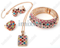 Wholesale Jewelry Sets KRGP Gold Plated Multicolor Austrian Crystals Paved Cuff Bracelet Earrings High Quality MSP03 C