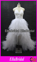 Wholesale Real Pictures Sexy White Feather High Low Bridal Wedding Dresses Lace Up Back Bridal Gown with Ruffles Skirt Ella8441