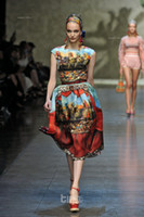 Wholesale 2013 Newest Runway Vintage Digital Printing Sleeveless Silk Dress T stage catwalk suit dress