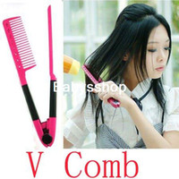 Wholesale DIY Salon Folding Hair dress Hairdressing Styling Hair Straightener V Comb Tool