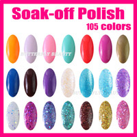 Soak-off Gel Polish 15m 58g/bottle 5 Pcs lot+105 Fashion Color 15ml Nail Art Soak off UV Gel Polish With Glitter LW002 Mixed Batch