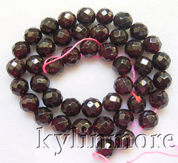 8SE02370a 9mm Garnet Faceted Round Beads 15.5''