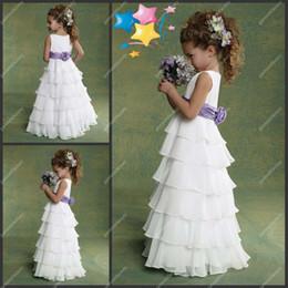 En Stock Vestidos para niñas de flores baratos Jewel Neckilne una línea de piso de piso de longitud blanco y púrpura de gasa de la boda Niñas junior vestido de dama de honor