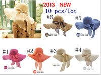 Wholesale 6 colors Wide Large Floppy Brim Summer Beach Sun Straw Beach Derby Hat Cap Packable Flexible