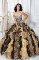 Wholesale 2013 New Ball Gown Sweetheart Leopard Print Organza Prom Dresses Princess Quinceanera Dresses