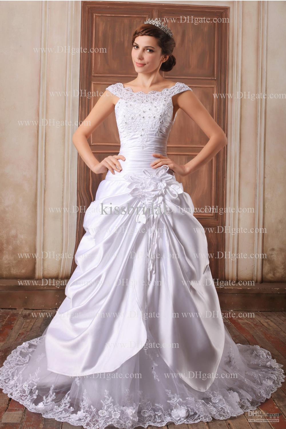 2013 Exqusite White Bridal Dress Ball Gown Bateau Beads Flowers ...