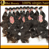 Wholesale 12 quot quot Indian virgin hair extension weave body wave double weft natural black