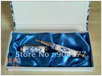 Cheap Fine Fountain Pen Gift Set China Blue and White Porcelain with Hardcover box 5set lot Free
