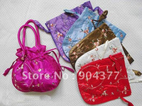 Wholesale Pretty Large Tote Gift Favor Bags Reusable Embroidery Satin Drawstring Packaging Pouches piece pack mix color