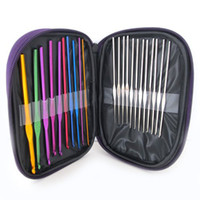 Wholesale 22pcs a Set Aluminum Crochet Hooks Needles Knit Weave Stitches Knitting Craft Case