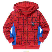 Wholesale Boy Cartoon Spiderman Jacket Printed Cotton Hooded Jackets